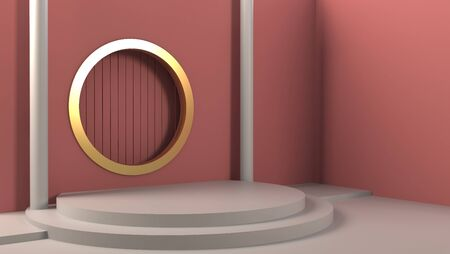Product stand in room with window, Pink color, Shine light, Cylinder shape. 3D Rendering mockup