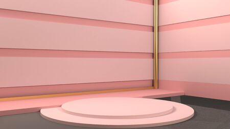 3D rendering podium geometry with pink blue and gold elements. Abstract geometric shape blank podium. Minimal scene square step floor abstract composition. Empty showcase, pedestal platform display