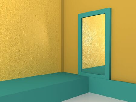 Rectangular different height podium on a turquoise and yellow background. Backdrop design for product promotion. 3d rendering. Mirror