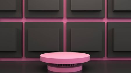 Pink and grey square shape of product display with minimal and modern concepts, Pedestal, Podium, Stand, 3D Rendering. Banque d'images