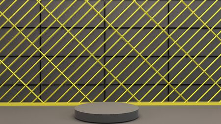Black geometric background with a podium for presentations. 3D rendering. Black and yellow mockup