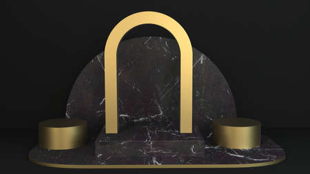 Marble and Gold Pedestal, Product Stand. 3D Rendering background