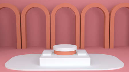 Minimal scene with cylinder podium. Abstract geometric background. Empty room to show a product,