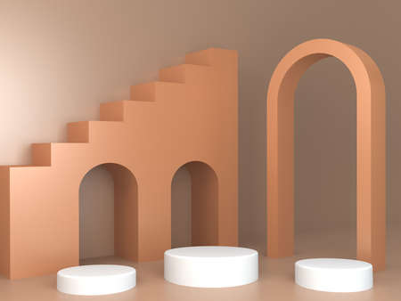Pink coral shapes on a coral abstract background. Minimal boxes and geometric podium. Scene with geometrical forms. 版權商用圖片