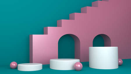 3d render, primitive shapes, abstract geometric background, cylinder podium, modern minimalistic mock up, blank template