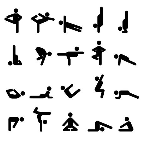 Yoga poses in stick figures