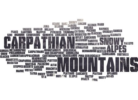 wasatch: Mountains Carpatian word list with mountain background Stock Photo