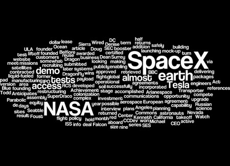 power suppliers: Nasa SpaceX projects word cloud. Stock Photo