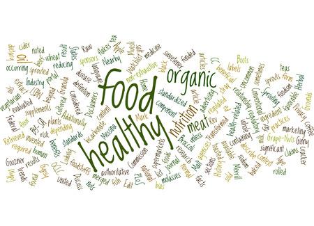 implications: Healthy organic food word cloud.
