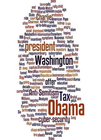 seized: Obama news. Taxes and international relationships. Word cloud.
