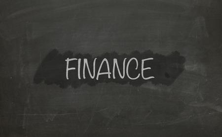 commercialization: Chalkboard Finance. Stock Photo