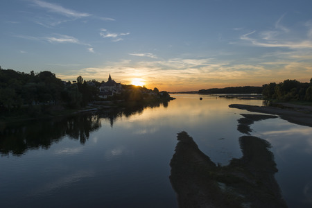 candes: Sunset at Canders Saint martin at the Loire in France.