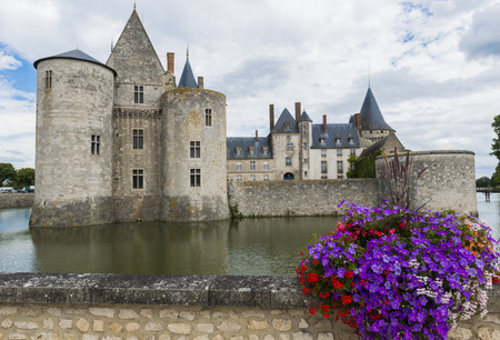 sully: Castle in Sully sur Loire in France with purple flowers and a canal.