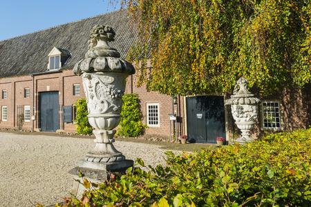 Buildings and garden of Casle Slangenburg in Doetinchem.