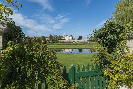 Chateau Lafite-Rothschild with Garden and Fence in Saint-Estephe Medoc France.