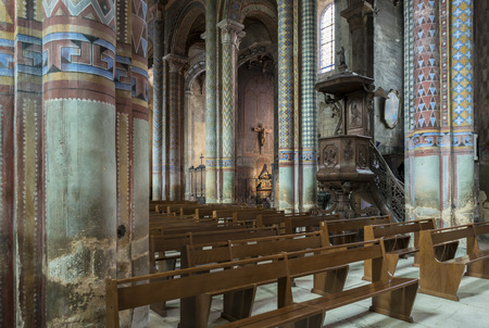 bible altar: interior with several pillars of the cathedral of Poitiers. Editorial