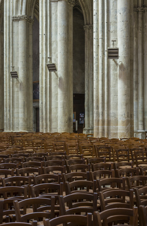 theology: Chairs and pillars in the cathedral of Tours in France.