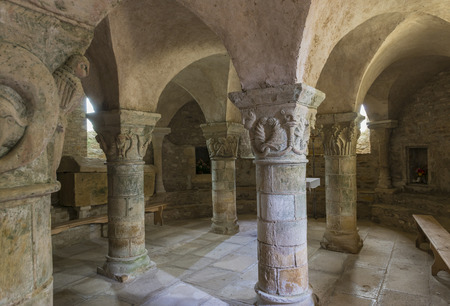 crypt: Crypt of roman church in Saint Parise le Chatel in France.