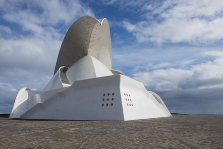 santa cruz de tenerife: Front and side face of Concert hall of architect Calatrava in Santa Cruz de Tenerife on the Canary Islands.