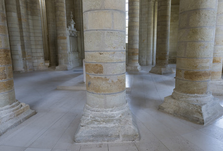 unesco: Abbey of Fontevraud, UNESCO heritage, with white pllars in France. Editorial