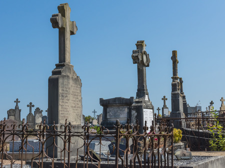 graveyard: Old and decaying graveyard in France.