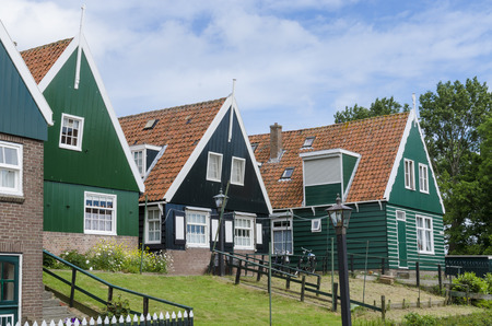 marken: A few typical wooden houses on the former isle of Marken in the Netherlands.