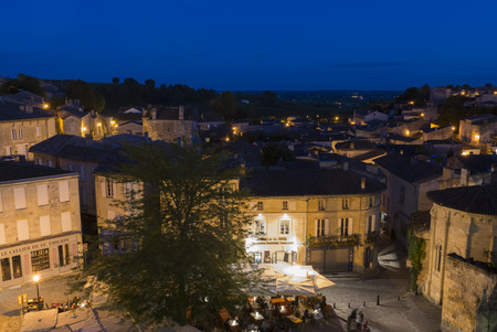 saint emilion: View on UNESCO World Heritage site Saint-Emilion with old houses and famous winedistrict at night.