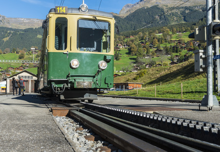 berner: Train of rack-Railway in the morning light in Grindelwald in Switserland. Editorial