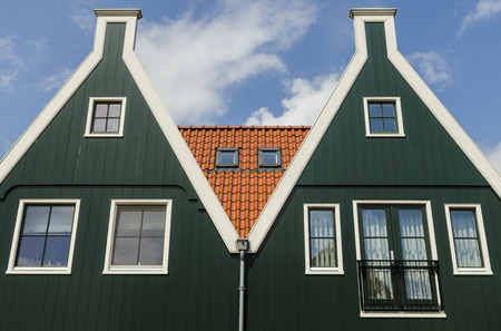 house gables: Two typical greenhouses in the town of Volendam The Netherlands Stock Photo