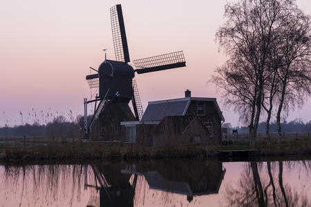 drakes: Mill at Woerdens Verlaat after sunset near the Kromme Mijdrecht.