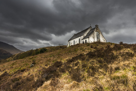 Church in the hills of the Highlands of Scotland in near the village of Lochailort. photo