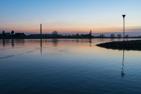 nether: Sunset on the river Rhine Lower Rhine at Amerongen. Stock Photo