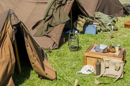 'second world war': Equipment of a soldier with tent, lamp box in the second world war. Stock Photo