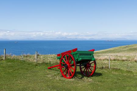 skye: Cart at the Skye Museum of Island Life, Scotland.