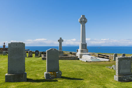 Kilmuir graveyard with grave of knight Angus Martin near  the Skye Museum of Island Life, Scotland.