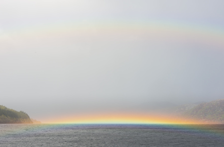 loch ness: Rainbow on water on Loch Ness in Scotland