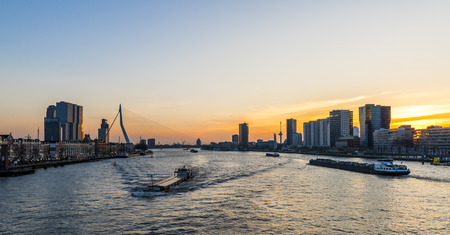 maas: Rotterdam Evening light Nieuwe Maas and Erasmus Bridge.