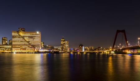 maas: Wilhelminapier in Rotterdam seen from the Westerkade with Nieuwe Maas and Erasmus Bridge.