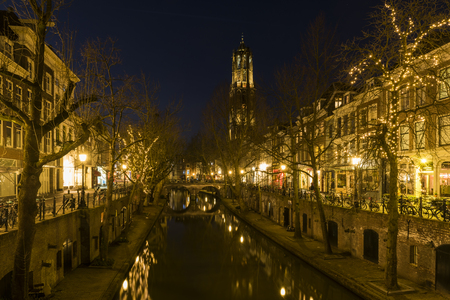 dom: Utrecht at night, Oude Gracht, bridge, houses, canal, Dom (church). �ditoriale