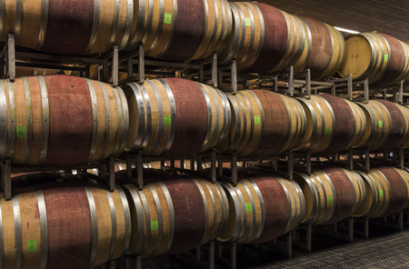 Alba, Italy - May 30, 2016: Cellar with barrels of wine of Ceretto Winery, Piedmont, Italy in Alba district. 에디토리얼