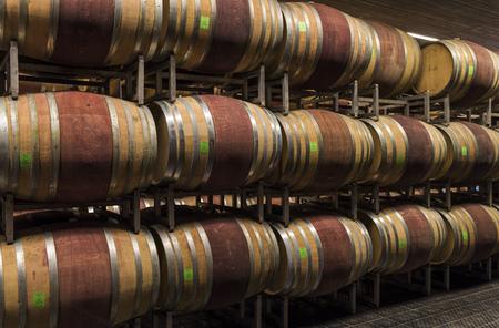 Alba, Italië - 30 mei 2016: Kelder met vaten wijn van Ceretto Winery, Piemonte, Italië in het district Alba.