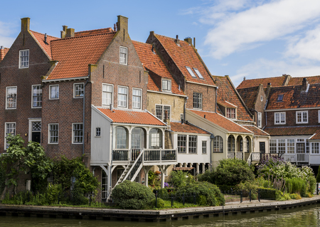 Old houses in the center of Enkhuizen, The Netherlands. Stock Photo