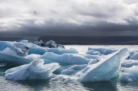 climatology: Ice blocks at the lake of   Jokulsarlon glacier lagoon in the Vatnajokull National Park, Iceland. Stock Photo