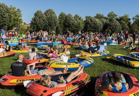 world record: Utrecht, The Netherlands - August 6, 2016: Zodiac (Rubber Boat) Mission in Utrecht, world record, The Netherlands Editorial