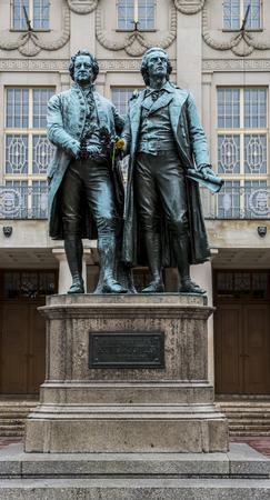 Statue of Goethe and Schiller in Weimar, Germany.