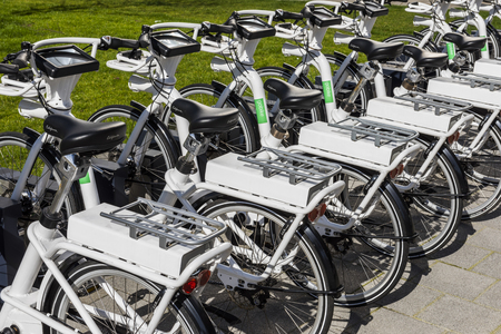 Rotterdam, The Netehrlands - March 10, 2017: Gobike or e-bike for rent for tourists in Rotterdam in the Netheralands. Editorial