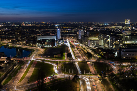 Rotterdam, The Netherlands - March 24, 2017: Rotterdam, Panorama taken from the Euromast in the Netherlands with offices, skyscrapers, traffic, hospital and city centre.