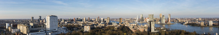 Rotterdam, The Netherlands - March 24, 2017: Panorama of Rotterdam taken from the Euromast in the Netherlands with Erasmus bridge, offices, skyscrapers, river Nieuwe Maas and city centre.