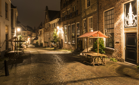 Deventer, The Netherlands - December 17, 2016:  Deventer during Christmas time in the evening with christmas lights and  lanterns during Dickens Festival.