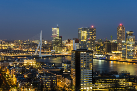 Rotterdam, Panorama taken from the Euromast in the Netherlands with Erasmus bridge, offices, skyscrapers, river Nieuwe Maas and city centre. Editorial